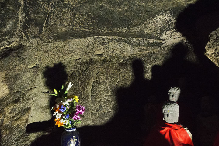 Three Buddha Figures carved inside the Cave of the Five Hundred Arhats