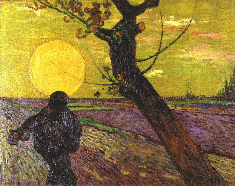 日没を背に種まく人
